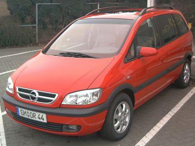 Front und Fahrerseite eines roten Opel Zafira A.